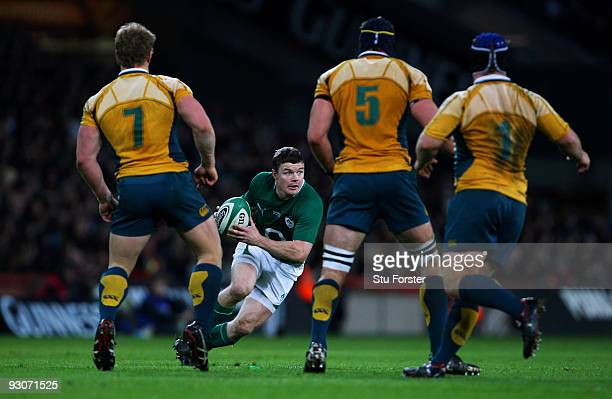 Brian O'Driscoll of Ireland runs at the Australia defence during the Rugby Union International between Ireland and Australia at Croke Park on...