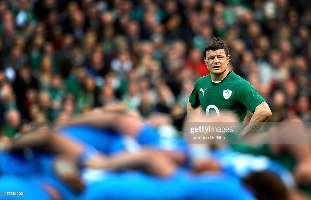 Brian O'Driscoll of Ireland watches the scrum during the RBS Six Nations match between Ireland and Italy at Aviva Stadium on March 8, 2014 in Dublin, Ireland.
