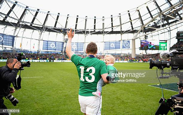 Brian O'Driscoll of Ireland waves farewell to the fans after his last home appearance the RBS Six Nations match between Ireland and Italy at Aviva...