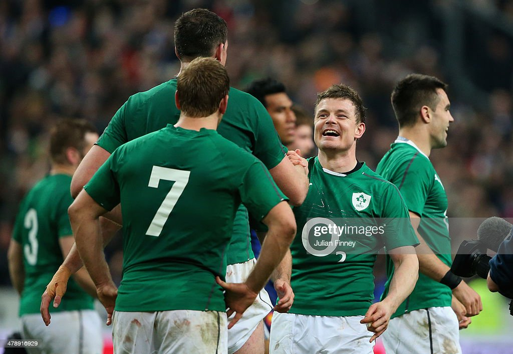 Brian O'Driscoll of Ireland with team mates after winning the Six Nations Championship during the RBS Six Nations match between France and Ireland at Stade de France on March 15, 2014 in Paris, France.