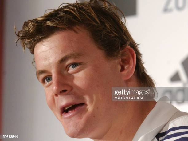 Brian O'Driscoll of Leinster and Ireland smiles during a press conference 11 April 2005 in Heathrow about the British and Irish Lions touring squad...