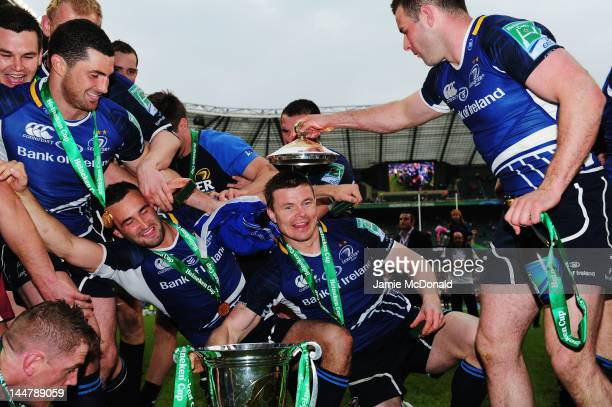 Brian O'Driscoll of Leinster and team mates celebrate victory during the Heineken Cup Final between Leinster and Ulster at Twickenham Stadium on May...