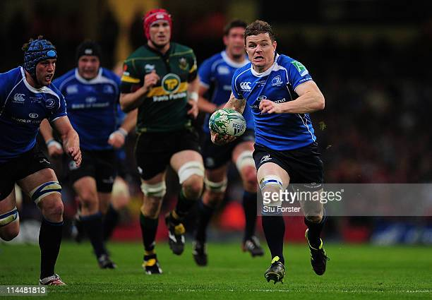 Brian O'Driscoll of Leinster breaks clear during the Heineken Cup Final between Leinster and Northampton Saints at Millennium Stadium on May 21 2011...