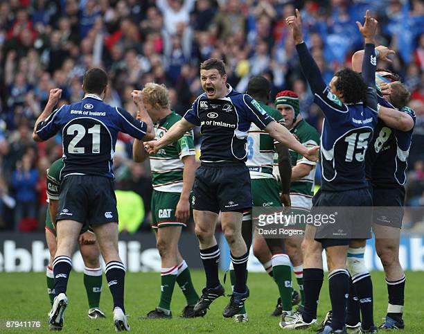 Brian O'Driscoll of Leinster celebrates victory with his team mates as the final whistle is blown at the end of the Heineken Cup Final match between...