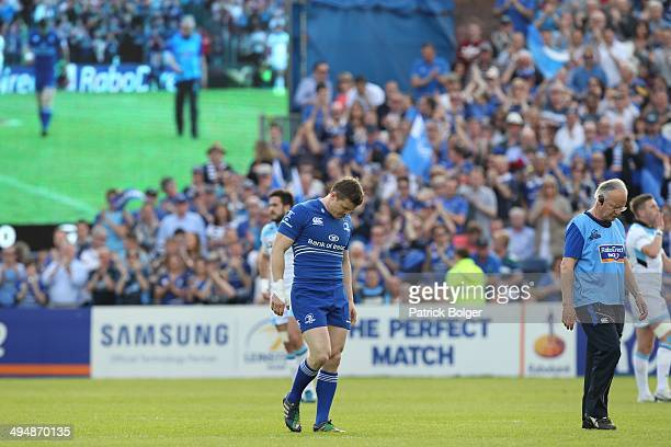 Brian O'Driscoll of Leinster leaves the field injured in what is his last match during the RaboDirect Pro 12 match between Leinster and Glasgow...
