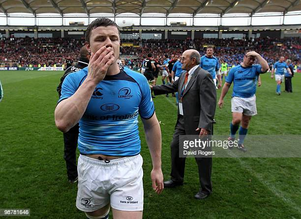 Brian O'Driscoll of Leinster looks dejected after his teams defeat during the Heineken Cup semi final match between Toulouse and Leinster at Stade...