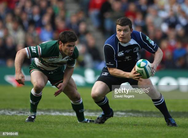 Brian O'Driscoll of Leinster moves away from Dan Hipkiss during the Heineken Cup Final between Leicester Tigers and Leinster at Murrayfield on May 23...