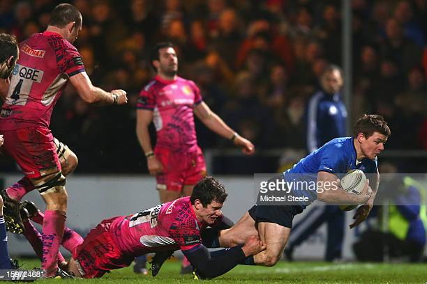 Brian O'Driscoll of Leinster scores his sides third try as Ian Whitten of Exeter Chiefs fails to tackle during the Heineken Cup Pool Five match...