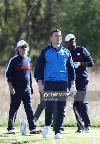 Brian O'Driscoll of Team Europe looks on during the celebrity challenge match ahead of the 2018 Ryder Cup at Le Golf National on September 25 2018 in...