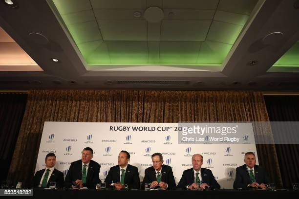 Brian O'Driscoll Philip Browne Leo Varadkar TD Dick Spring Shane Ross TD and David Sterling during the Rugby World Cup 2023 Bid Presentations event...