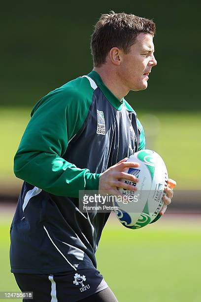 Brian O'Driscoll runs through drills during an Ireland IRB Rugby World Cup 2011 training session at Mt Smart Stadium on September 13 2011 in Auckland...