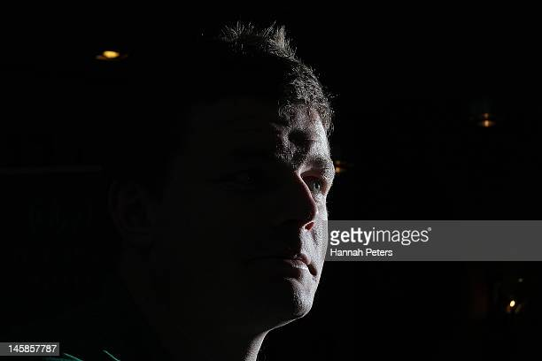 Brian O'Driscoll talks to the media during the Ireland rugby team announcement at the Spencer on Byron on June 7 2012 in Auckland New Zealand