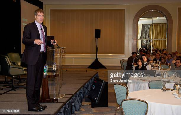 Brian O'Kelley speaks to the crowd at the AppNexus Summit SF at the Four Seasons Hotel on April 14 2011 in San Francisco California