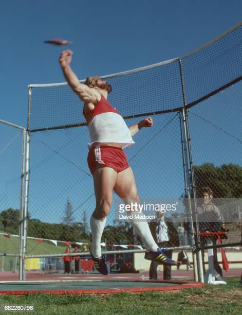 Brian Oldfield of the USA competes in a Men's Shot Put event during a track meet in March 1980 at Stanford Stadium in Palo Alto California