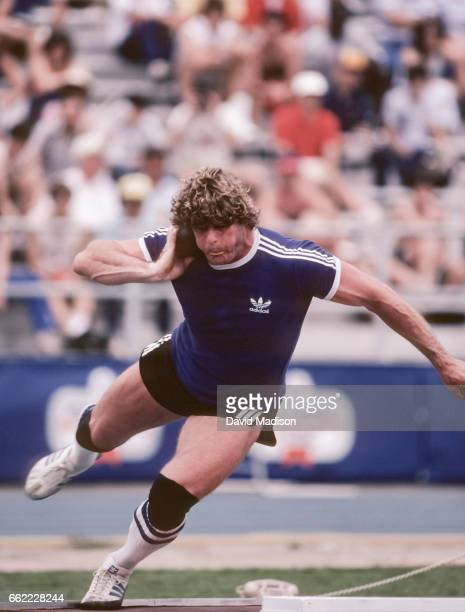 Brian Oldfield of the USA competes in the Men's Shot Put event of the 1983 Bruce Jenner Invitational track meet at San Jose City College in San Jose...