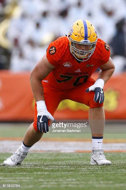 Brian O'Neill of the North team guards during the Reese's Senior Bowl at LaddPeebles Stadium on January 27 2018 in Mobile Alabama