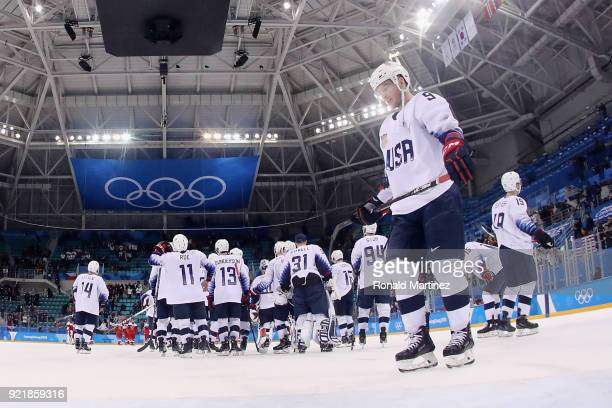 Brian O'Neill of the United States reacts after being defeated 32 by the Czech Republic in the overtime penaltyshot shootout during the Men's...