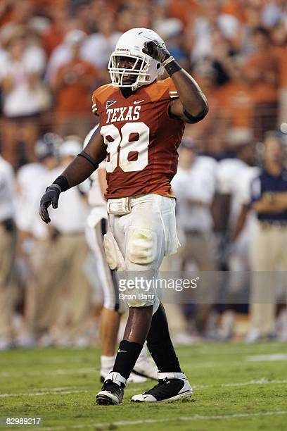 Brian Orakpo of the Texas Longhorns celebrates a play during the game against the Rice Owls on September 20 2008 at Darrell K RoyalTexas Memorial...