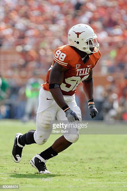 Brian Orakpo of the Texas Longhorns moves on the field during the game against the Arkansas Razorbacks on September 27 2008 at Darrell K RoyalTexas...