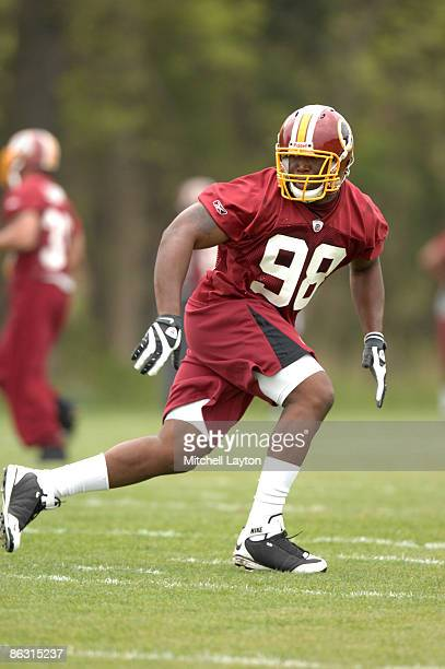 Brian Orakpo, the Washington Redskins first round draft pick, runs through drills during minicamp on May 1, 2009 at Redskins Park in Ashurn, Virginia.