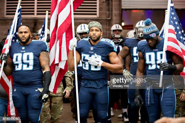 Brian Orakpo Wesley Woodyard and Jurrell Casey of the Tennessee Titans during introductions before a game against the Cincinnati Bengals at Nissan...