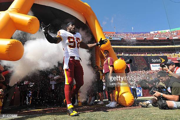 Brian Orapko of the Washington Redskins is introduced before the game against the Tampa Bay Buccaneers at FedExField on October 4 2009 in Landover...