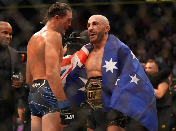 Brian Ortega and Alexander Volkanovski of Australia talk to each other following their bout during the UFC 266 event on September 25, 2021 in Las...