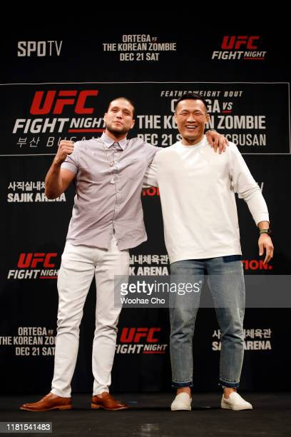 Brian Ortega and Chan Sung Jung attend the press conference of the mixed martial arts event produced by the Ultimate Fighting Championship that is...