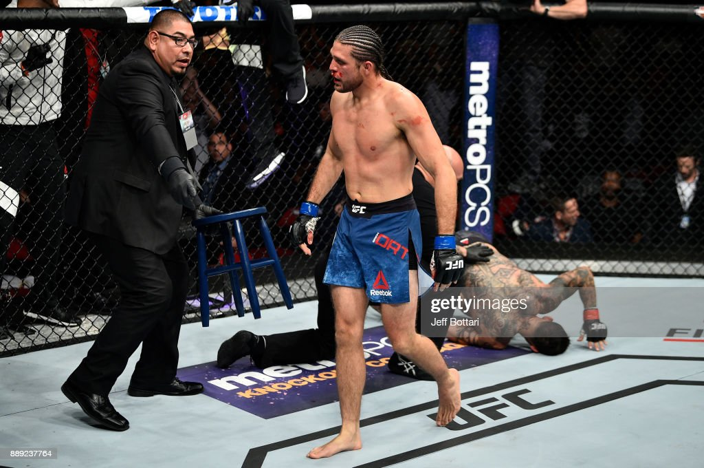 Brian Ortega celebrates his submission victory over Cub Swanson in their featherweight bout during the UFC Fight Night event inside Save Mart Center on December 9, 2017 in Fresno, California.