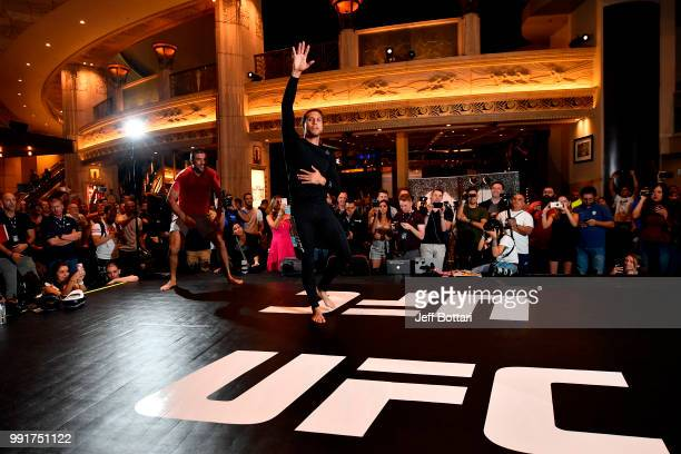 Brian Ortega holds an open training session for fans and media during the UFC 226 and The Ultimate Fighter Finale Open Workouts at MGM Grand Hotel &...