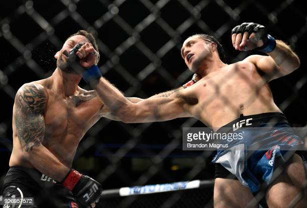 Brian Ortega knocks out Frankie Edgar in their featherweight bout during the UFC 222 event inside TMobile Arena on March 3 2018 in Las Vegas Nevada