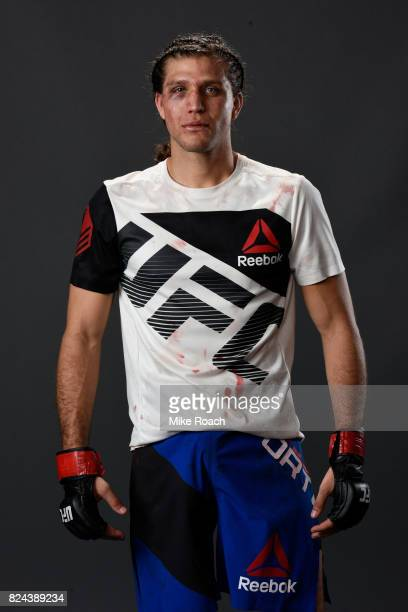 Brian Ortega poses for a portrait backstage after his victory over Renato Moicano of Brazil during the UFC 214 event at Honda Center on July 29 2017...