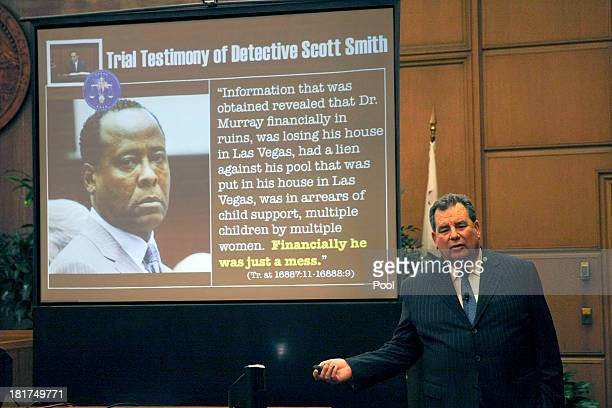 Brian Panish, attorney for the Michael Jackson family delivers his closing argument to jurors in the Michael Jackson lawsuit against concert promoter...