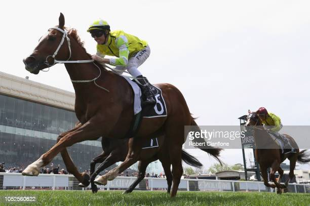 Brian Park rides Eduardo to win race three The McCafe Caulfield Sprint during Caulfield Cup Day at Caulfield Racecourse on October 20 2018 in...