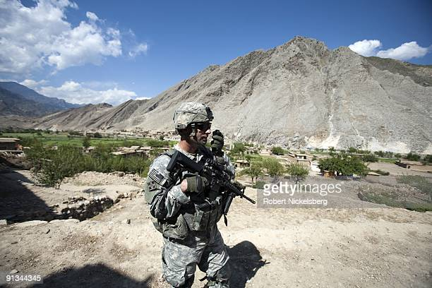 Brian Pearl battalion commander for the US Army's 4th Infantry Division's 4th Brigade 2 12 Infantry Regiment walks through Sundary Afghanistan in...