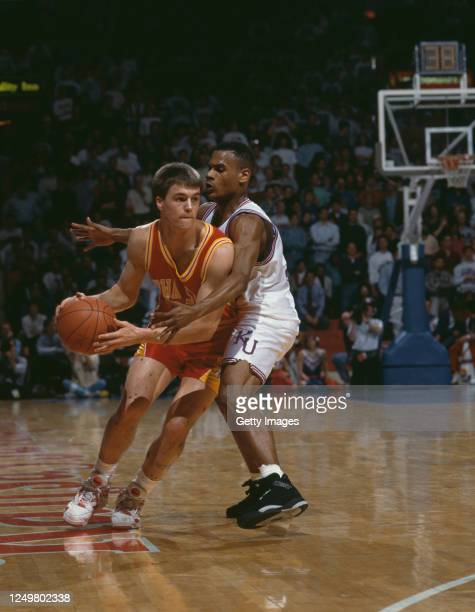 Brian Pearson, Guard for the Iowa State Cyclones dribbles the ball down court during the NCAA Big 8 Conference college basketball game against the...