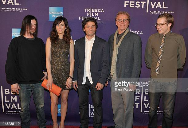 Brian Petsos Kristen Wiig Oscar Isaac David Rasche and Chadd Harbold attend the premiere of Revenge for Jolly during the 2012 Tribeca Film Festival...