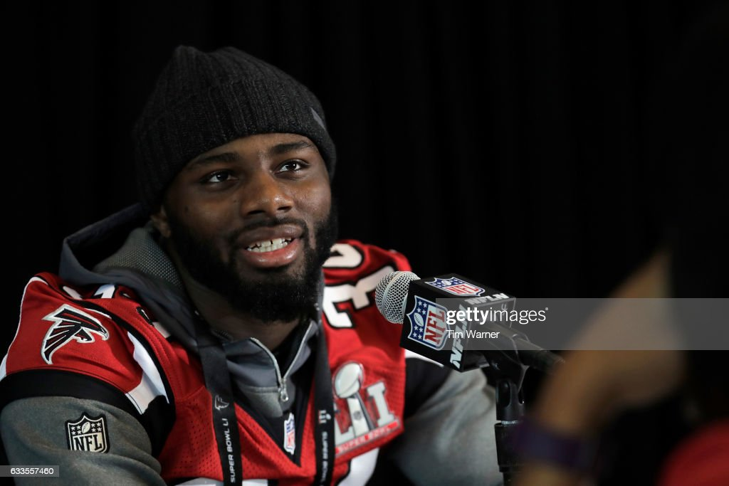 Brian Poole #34 of the Atlanta Falcons addresses the media during the Super Bowl LI press conference on February 2, 2017 in Houston, Texas.