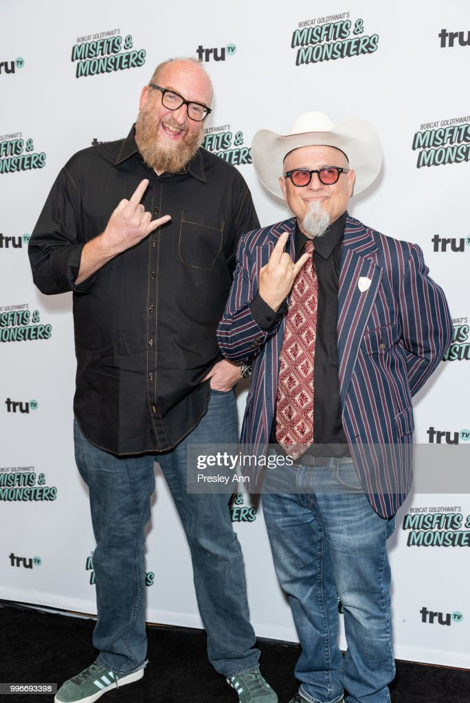 Brian Posehn and Bobcat Goldthwait attend the premiere of truTV's 'Bobcat Goldthwait's Misfits & Monsters' at Hollywood Roosevelt Hotel on July 11, 2018 in Hollywood, California.