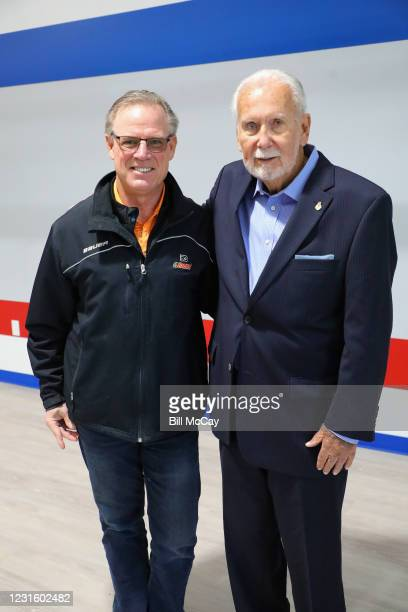 """Brian Propp and Joe Hand Sr.attend the 50th Anniversary Ali-Frazier """"Fight of the Century"""" Statue Dedication on March 8, 2021 at Joe Hand Gym in..."""