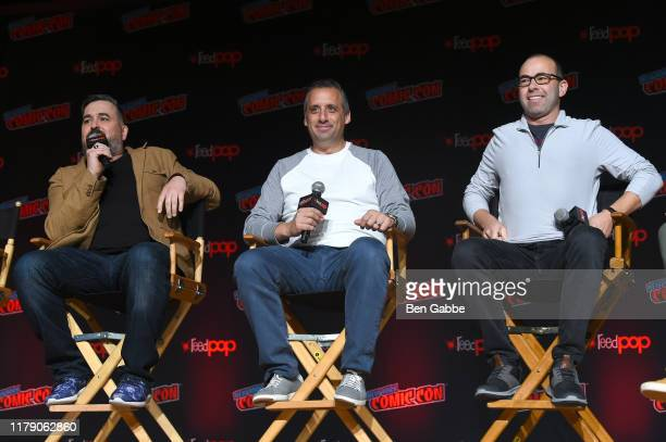 Brian Q Quinn Joe Gatto and James Murray speak onstage at the Impractical Jokers From Staten Island to The Misery Index and Beyond Panel during New...