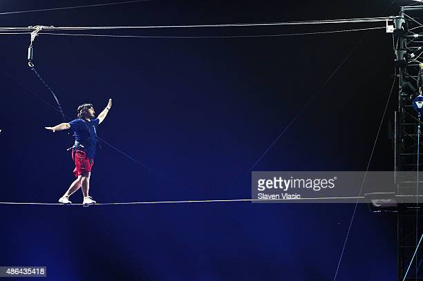 Brian Q Quinn walks the highwire at the Impractical Jokers 100th Episode Live Punishment Special at the South Street Seaport at 19 Fulton Street on...