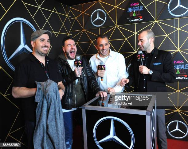 Brian Q Quinn Z100's Mo' Bounce Joe Gatto and James Murr Murray of Impractical Jokers attend the Z100's Jingle Ball 2017 press room on December 8...