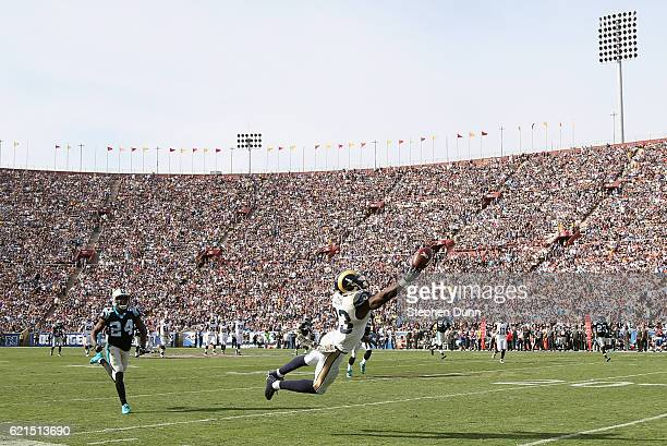 Brian Quick of the Los Angeles Rams can't hold on to the ball for an incomplete pass against the Carolina Panthers in the the second quater of the...