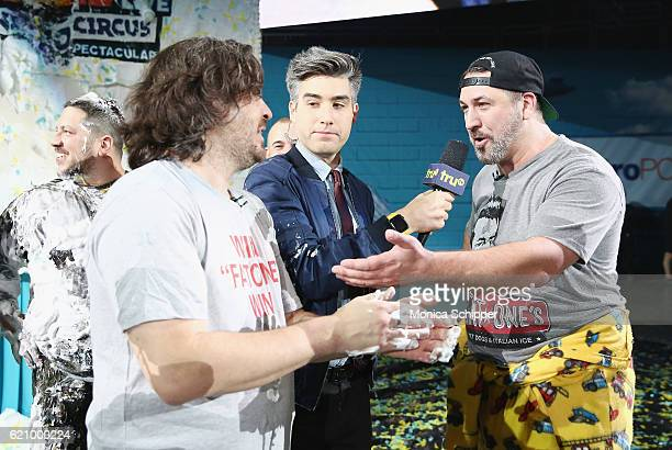 Brian Quinn Casey Jost and Joey Fatone speak during the Impractical Jokers Live Nitro Circus Spectacular at Prudential Center on November 3 2016 in...