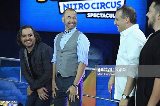 Brian Quinn James Murray Joe Gatto and Sal Vulcano speak during Impractical Jokers Live Nitro Circus Spectacular at Prudential Center on November 3...