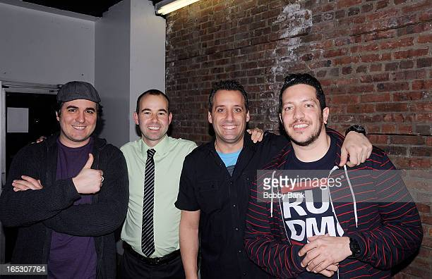 Brian Quinn James Murray Joseph Gatto and Salvature Valcano of The Impractical Jokers performs at The Stress Factory Comedy Club on April 2 2013 in...