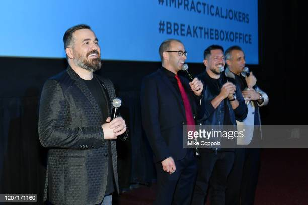 Brian Quinn James Murray Sal Vulcano and Joseph Gatto speak during the Impractical Jokers The Movie Premiere Screening and Party on February 18 2020...