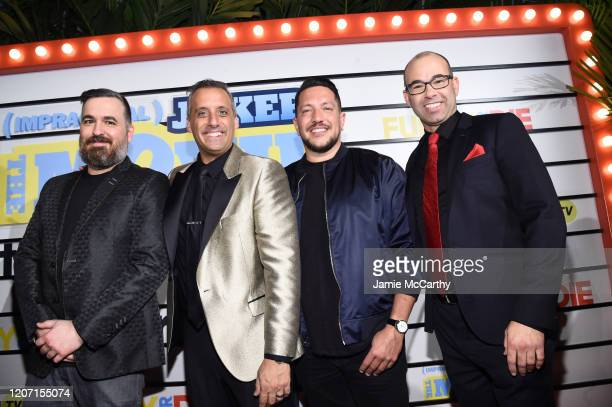 Brian Quinn Joe Gatto Sal Vulcano and James Murray attend the screening of Impractical Jokers The Movie at AMC Lincoln Square Theater on February 18...
