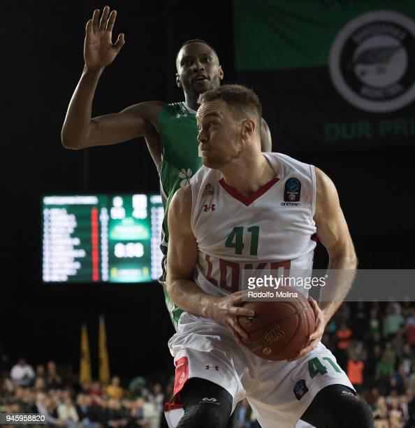 Brian Qvale #41 of Lokomotiv Kuban Krasnodar in action during the 7DAYS EuroCup Basketball Finals game two between Darussafaka Istanbul v Lokomotiv...